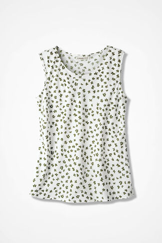 NEW Mini Floral Do-It-All Sleeveless Shell, Cypress, large