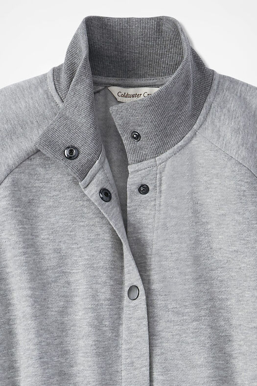 Snap-Front Fleece Lounger, Heather Grey, large