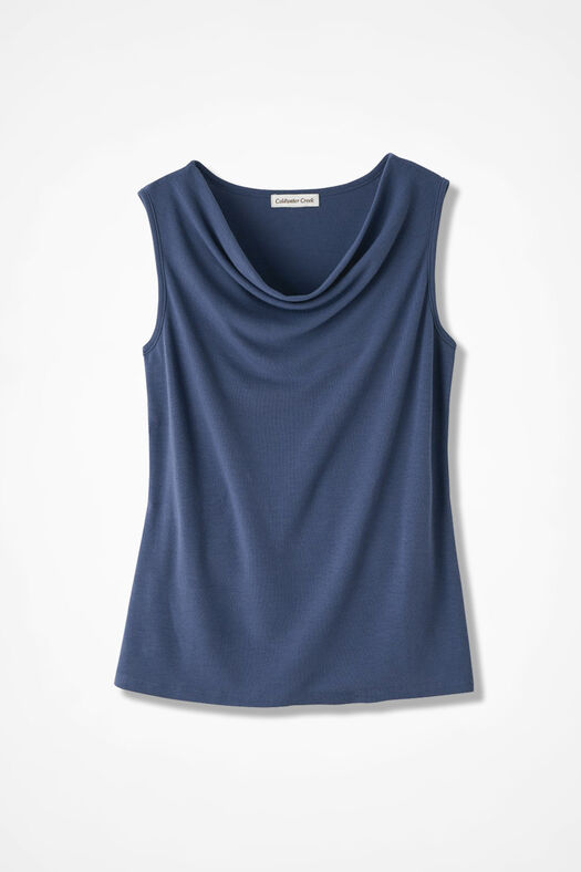 Drape-Neck Shell, Ranch Blue, large