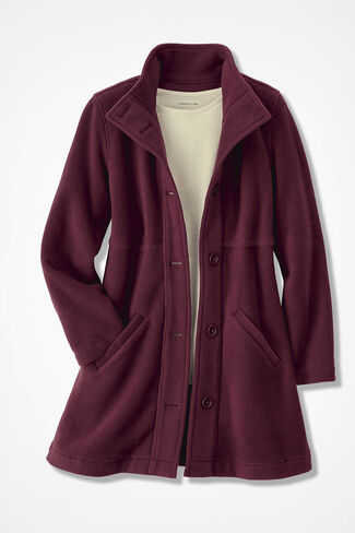 A-line Fleece Coat, Wine, large