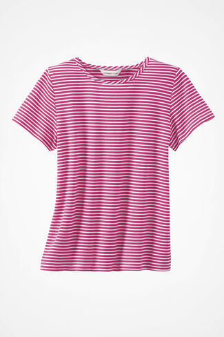 Show-Your-Stripes Cotton Tee, Bright Pink, large