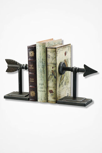 Cast Iron Arrow Bookends, Brown, large