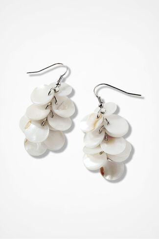 Pearlescent Layer Earrings, Silver, large