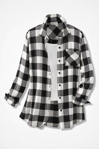 Wyoming Ramble Check Tunic, Black/Ivory, large