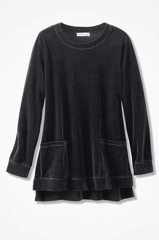 Velour du Jour Pocket Tunic, Black, large