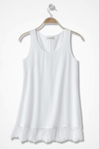 Lace Border Long Tank, White, large