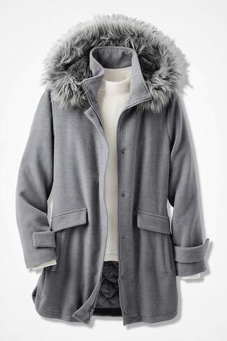 Purely Plush Hooded Fleece Coat, Heather Grey, large