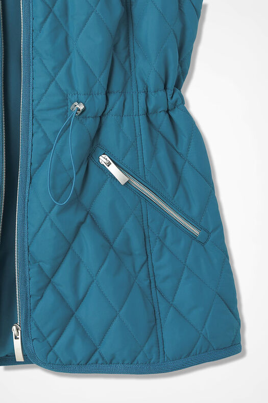 Quilted Drawstring Vest, Mallard Blue, large