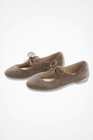 """""""Casey"""" Lace-Up Suede Flats by Me Too®, Taupe, large"""