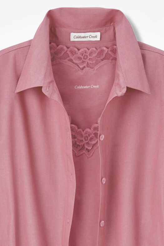 Long-Sleeve Easy Care Shirt, Desert Rose, large