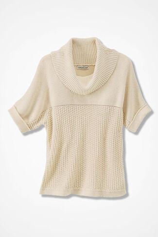 Mixed-Stitch Dolman Sweater, Vanilla, large