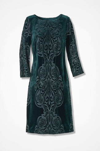 Scrolled Velvet Knit Dress, Spruce, large