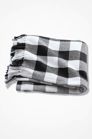 Buffalo Check Throw, Black, large