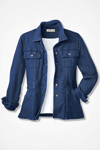 Urban Trails Knit Denim Jacket, Medium Wash, large