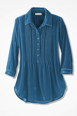 Pintuck Velvet Tunic, Mallard Blue, large