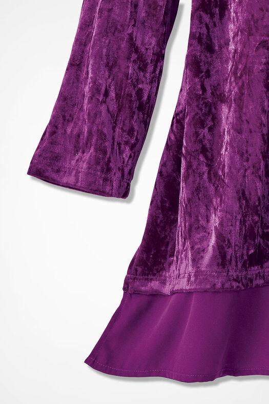 Chiffon Peek Panne Velvet Tunic, Currant, large