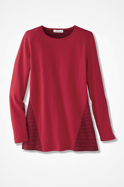 Stripe Surprise Tunic, Fresh Red, large