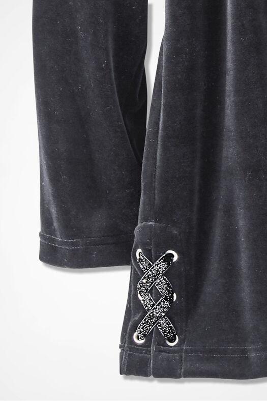 Velour du Jour Side-Laced Hooded Pullover, Black, large