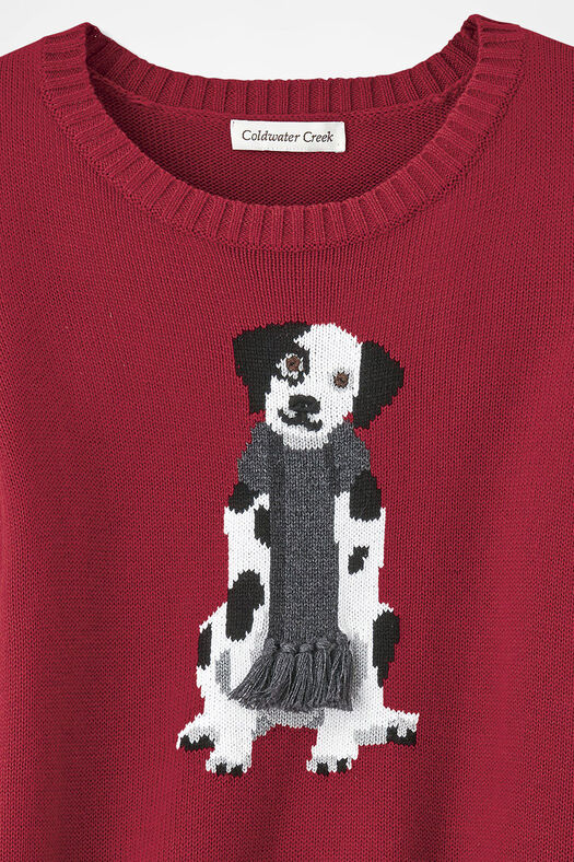 Darling Dalmatian Sweater, Dover Red, large