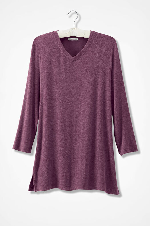 Wonder-Soft Smooth Brushed Knit Pullover, Heather Mulberry, large