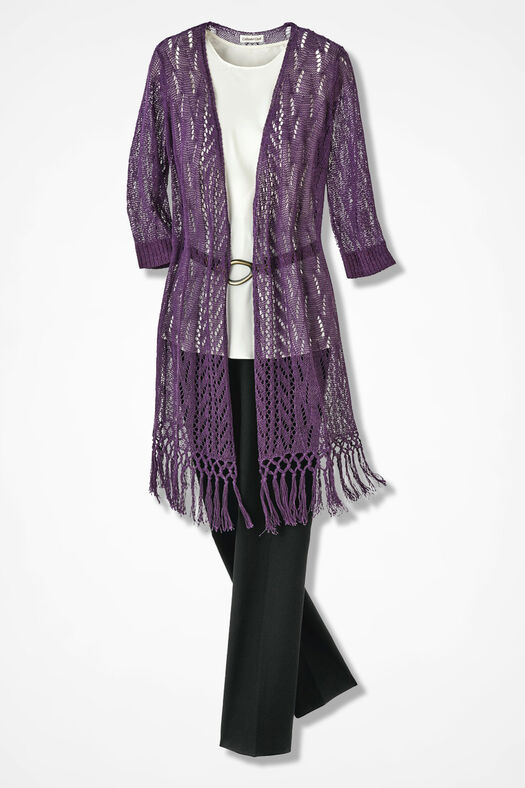 Fringed Duster Sweater, Boysenberry, large