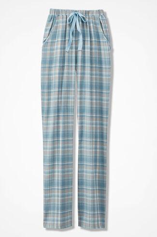 Plaid Flannel PJ Pants, Porcelain Blue, large