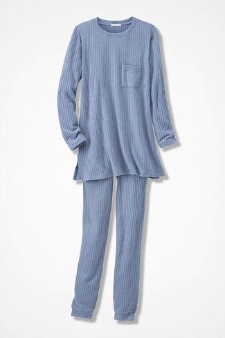 Plush Ribbed Pants Set, Dusty Blue, large