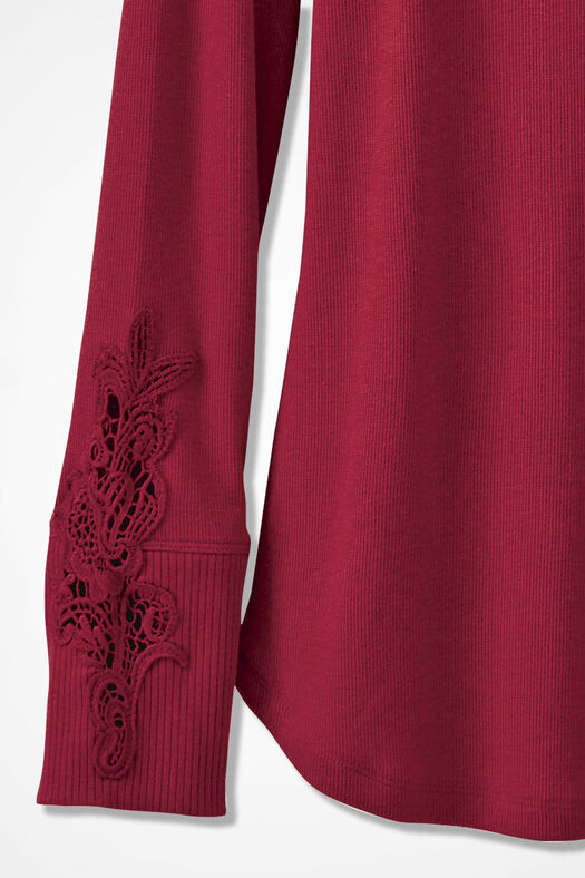 Embroidered Henley PJ Top, Dover Red, large