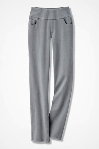 Knit Denim Pull-On Slim-Leg Jeans, Pewter, large