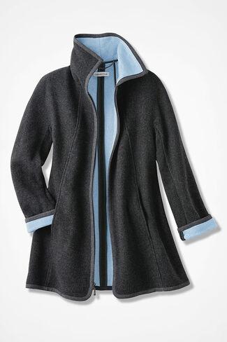 Double Face A-Line Fleece Coat, Grey, large