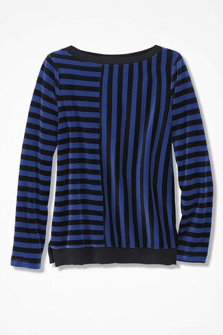 Velour du Jour Striped Pullover, Sapphire, large