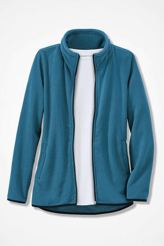 Microfleece Zip-Front Jacket, Mallard Blue, large