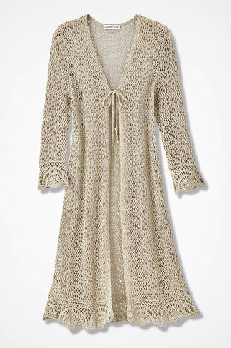 Tie-Front Crochet Cardigan, Alabaster, large
