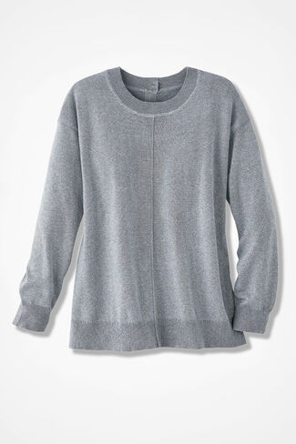 Subtle Sparkle Button-Back Sweater, Silver, large
