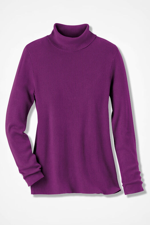 Ribbed Turtleneck Sweater, Currant, large