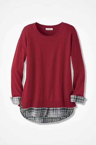 Glimpse of Plaid Sweater, Dover Red, large