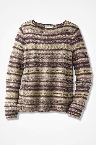 Potpourri of Stitches Sweater, Blackberry, large