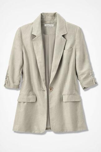 Linen Boyfriend Jacket, Flax, large