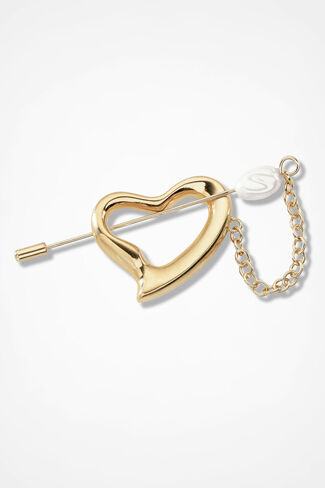 Heart Stick Pin, Gold, large
