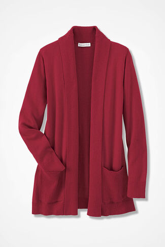 Mixed-Rib Open Cardigan, Dover Red, large