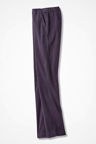 Hidden Stretch-Waist Chinos, Eggplant, large