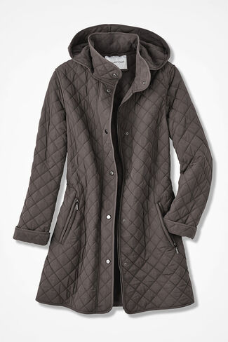 Hooded Quilted Car Coat, Mocha, large