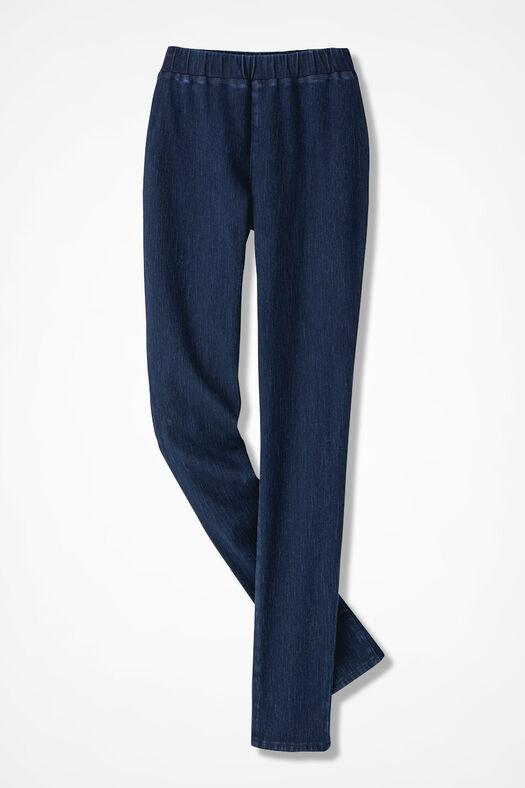Knit Denim Slim-Leg Leggings, Dark Wash, large