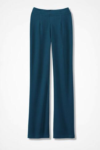 Signature Knit Crepe Pants, Dark Peacock, large
