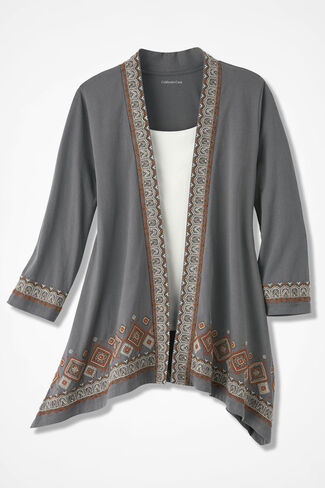 Distant Borders Embroidered Cardigan, Slate Grey, large