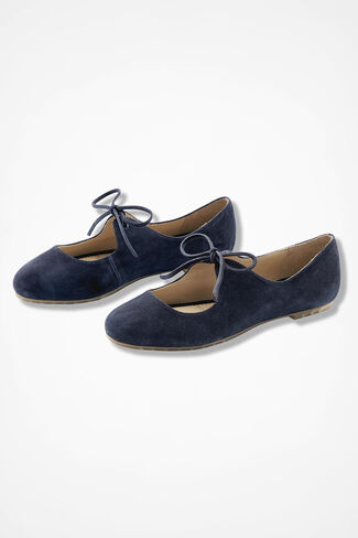 """""""Casey"""" Lace-Up Suede Flats by Me Too®, Navy, large"""