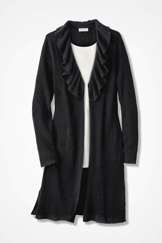 Ribbed and Ruffled Cardigan Sweater, Black, large