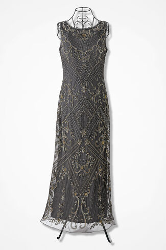 Fantasy in Beads Gown by Pisarro Nights, Grey, large
