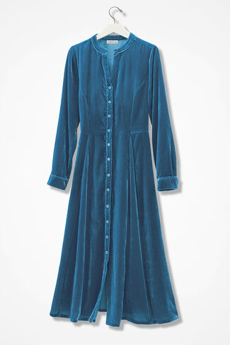 Allegro Crushed Velvet Shirtdress, Mallard Blue, large