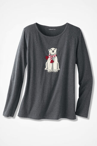 Holiday Polar Bear Tee, Charcoal Heather, large
